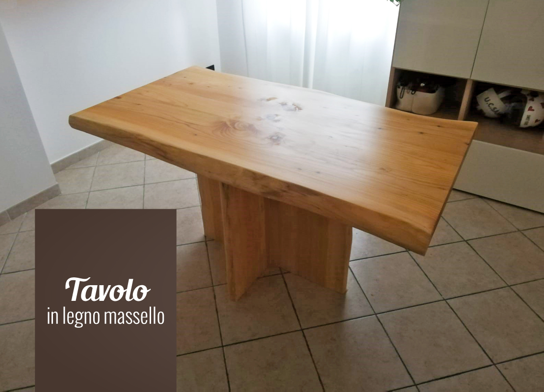 Tavolo  in cedro con gamba centrale