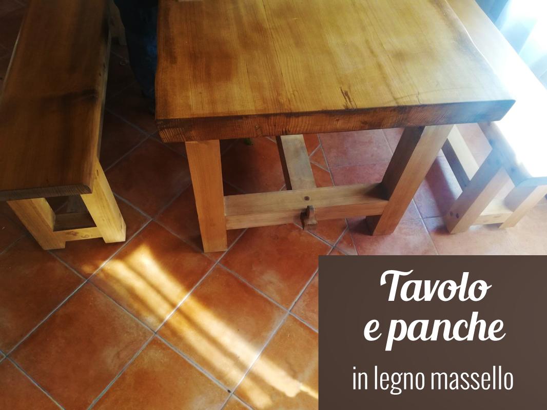 Tavolo e panche in legno massello