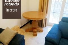 Tavolino da salotto, monogamba, in legno di cedro